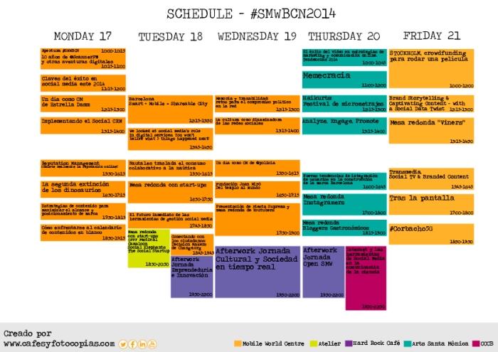 Schedule Social Media Week, Calendario Social Media Week, Conferencias SMWBCN, SMW, SMWBCN, Ponencias Social Media Week Barcelona, Calendario